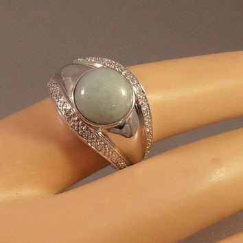 Sterling Jade Diamond Ring, Cocktail Statement Wide Band, Vintage Gift for Her, 9 grams Size 9