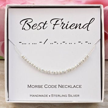 Gift for Best Friend necklace, Morse Code necklace Sterling Silver dainty minimalist jewelry unique Birthday Christmas gift for her