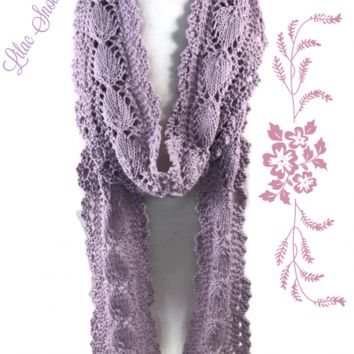 Lilac Snow Lace Cotton Scarf thin and long made with Valley Yarns 3/2 cotton