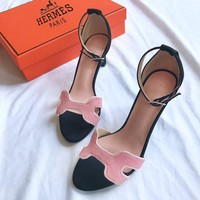 Hermes fashionable hot women's powder matching high heel sandals