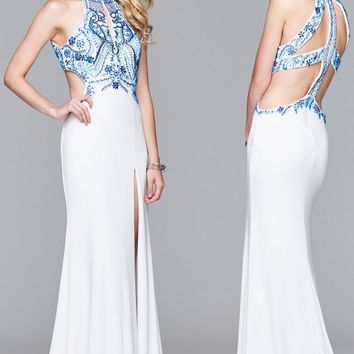 Faviana S7906 Contrast Beaded High Neck Gown