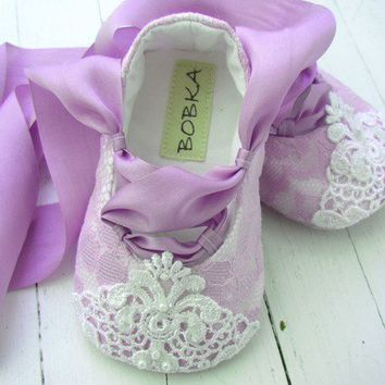 Fairytale Princess Lavender Lace Ballet Shoe For Your by BobkaBaby