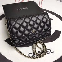 CHANEL WOMEN'S CLASSIC LEATHER INCLINED CHAIN SHOULDER BAG