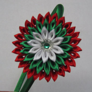 Kanzashi headband Kanzashi flower Christmas gift Christmas headband for girls, infant headband, toddler headband in Red, Green and White