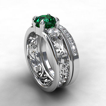 1.51ct Bluish green tourmaline and diamond filigree engagement ring set, white gold, unique, green tourmaline ring, diamond trinity, teal