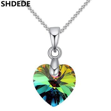 SHDEDE Heart Pendants Necklaces Crystal from Swarovski Silver Co 32e30d6520