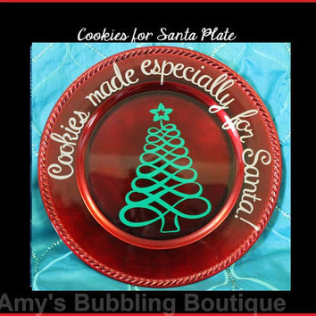 Santa Plate, Cookie for Santa, Christmas Gift, Christmas Plate, Christmas Eve, Home Decor, Cookies for Santa Plate, Red Plate Santa Cookies