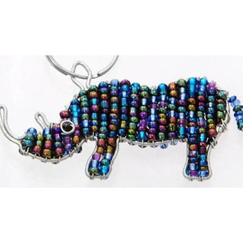 Beaded Rhino Keychain or Zipper Pull - African beaded animal keyring
