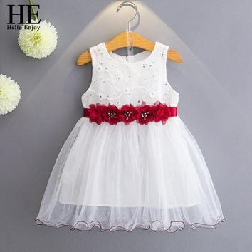 HE Hello Enjoy Girl wedding dress 2017belle dress fashion white net yarn ball gown flower ribbon princess dress children clothes