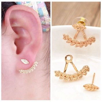 Women Girls Cute Gold Silver Leaf Ear Stud Earrings Jewelry Gift 1 Pair + Gift Box