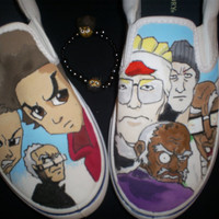 hand painted boondocks shoes w matching bracelet by vicecreations