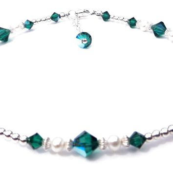 Handmade Sterling Silver Crystal Ankle Bracelets  | Birthstone Emerald May