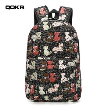 Girls bookbag QOKR women cute cats backpacks female animal printing rucksacks bookbag for school teenage girls canvas brand new AT_52_3
