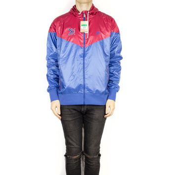 new NIKE windrunner jacket / deadstock 340869 / original / retro / windbreaker / rain / packable / running / red blue / athletic /  L - XL