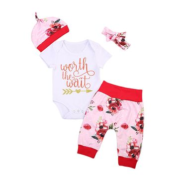 Lovely Infant Baby Girls Clothes Letter Printed Romper +Floral Long Pants +Hat+Headband Outfits 4pcs Set