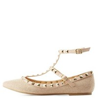 Gold Rhinestone Studded Pointed Toe T-Strap Flats by Charlotte Russe