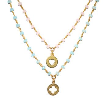 Pink or Blue Beaded Gold Chain Necklace with Gold Charm (Heart or Flower)