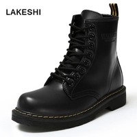 2017 Women Boots Lace Up Martin Boots Women Ankle Fur Boots Brand Winter Women Shoes