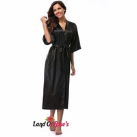 Plus-Size Silk Satin Long Robe Kimono  Bath Robe  4XL