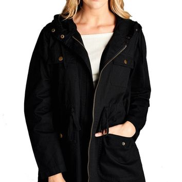 Mid Length Utility Jacket in Black