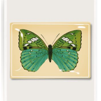 Turquoise Butterfly Decoupage Glass Tray