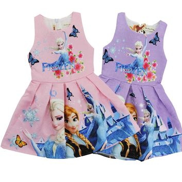 2017 Summer Cartoon Dresses for Baby Girls Elsa Anna Snow Queen Kids Party Princess Costume Dress Children's Clothes Kids Cloth