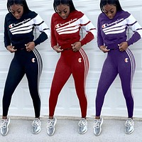 Champion tide brand female letters digital printing sexy suit two-piece