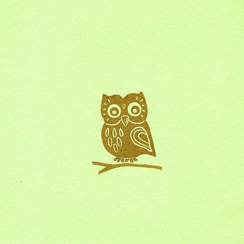 Friendly Owl Rubber Stamp with Branch Set, Hand Carved Rubber Stamp Folk Art Owl, Cute Friendly