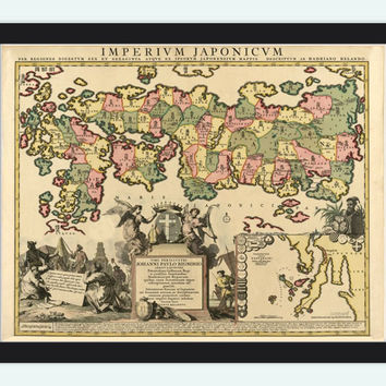 Old Map of Japan, 1718, Asia Antique map Japan Sea