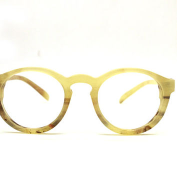 Only One  OX horn round handmade prescription sunglasses eyeglasses from TAKEMOTO