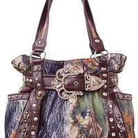 Western Cowgirl Camo Belted Rhinestone Buckle Canvas Purse (brown)