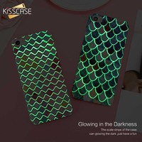 KISSCASE Case For iPhone X Cute 3D Hard Plastic Phone Case For iPhone 6 6S 7 Plus Mermaid Squama Glowing Back Cover For i5 5S SE