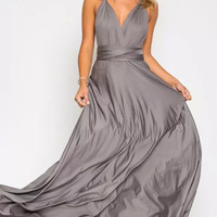 Gray Back Wrap Bow Backless Sleeveless V-neck Maxi Dress