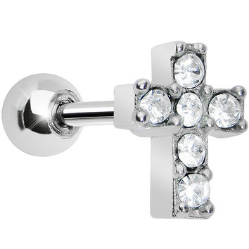 Clear Gem Sparkling Cross Cartilage Tragus Earring