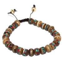 Medium Brown Adjustable Bracelet Wrist mala Tibetan Prayer beads