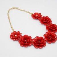 Buy Home Red Resin Flower Beaded Rose Flower Statement Necklace, Bubble Necklace, Wedding Accessories