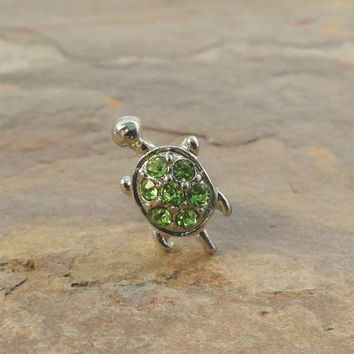 Silver Turtle Green Crystals Cartliage Earring Tragus Helix Piercing