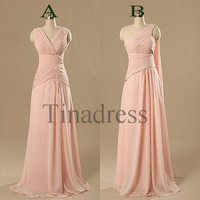 Custom Pink New Long Bridesmaid Dresses 2014 Fashion Prom Dresses Wedding Party Dress Evening Dresses Formal Party Dress Homecoming Dresses