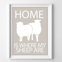 8x10 Sheep Wall Art, Sheep Illustration Art, Sheep Owner Gift, Sheep Themed Print, 8x10 Sheep Print, Sheep Lover Gift, Farm Wall Art