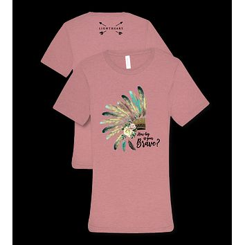 Southern Couture Lightheart How Big is Your Brave Headdress Feathers Triblend Front Print T-Shirt