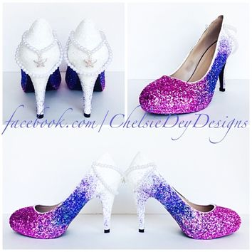 Ombre Glitter Platform Pumps, Magenta Lilac White High Heels with Pearls