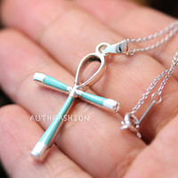 Sterling Silver Turquoise / Onyx Cross Pendant Necklace Gift Idea Birth Stone qh23
