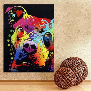 Oil Painting Wall Pitbull warrior dog  No Frame