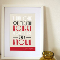 Great Gatsby Quote print  - I am one of the few honest people I have even known    - A3 -  Art deco