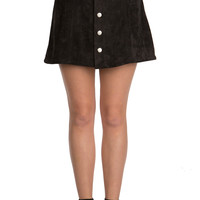 Black Suede Button-Up Skirt-FINAL SALE