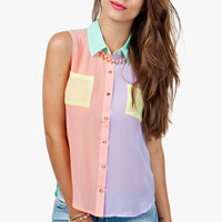 A'GACI Multi Color Block Sleeveless Chiffon Shirt - TOPS