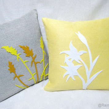 2 Pieces Set. Wild Grass Summer Lilies Grey and Yellow White Pillow Covers Set. Modern Botanical Floral Cushion Covers. Pick Your Color!