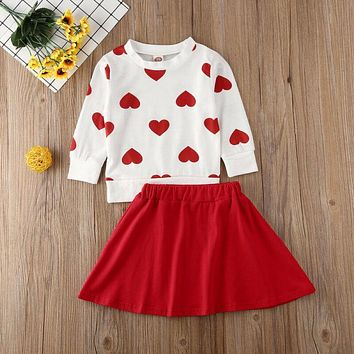 New Toddler Kids Baby Girl Valentine 's Day Clothes Long Sleeve Love Heart Printed Shirt Tops Tutu Skirt 2Pcs Outfits Set