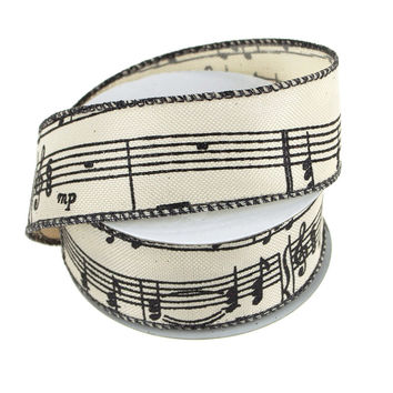 Musical Notes Canvas Ribbon, Ivory, 1-1/2-Inch, 10 Yards