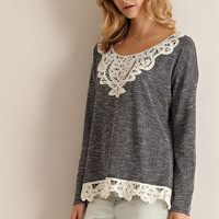 Crochet Hem Sweater - Black